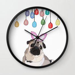 Happy Easter Bunny - Pug dog Wall Clock