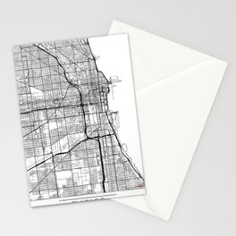 Chicago Map White Stationery Cards