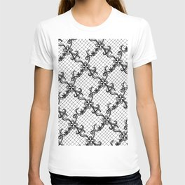 Floral Lace Hand Drawn in Black and White T-shirt