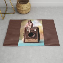 Smile for the Camera - vintage Kodak Brownie camera with miniature girl. Rug