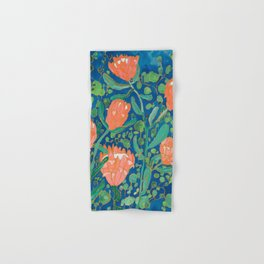 Coral Proteas on Blue Pattern Painting Hand & Bath Towel