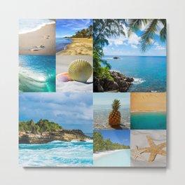 Beach Water Coastal Sand Collage Metal Print