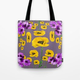 LILAC ANEMONES YELLOW POPPY FLOWERS ON GREY Tote Bag