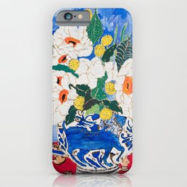 Queen of California - Giant Matilija Poppy Bouquet in Lion Vase on Blue iPhone Case
