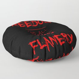 Jesus Reedus And All The Holy Flanery  - Red on Black Floor Pillow