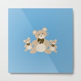 Teddy Bears Triplet - Blue Metal Print