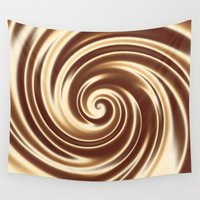 cocktail Wall Tapestries featuring Chocolate milk cocktail spiral by Natalia Bykova