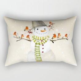 Snowman and Birds Rectangular Pillow