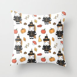 cartoon thanksgiving pattern with pilgrim unicorns, pumpkins, apples, pears, leaves and acorns Throw Pillow