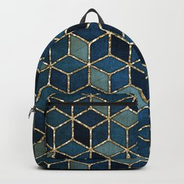 Shades Of Turquoise Green & Blue Cubes Pattern Backpack