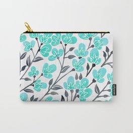 Cherry Blossoms – Turquoise & Black Palette Carry-All Pouch