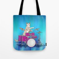 drums Tote Bags featuring Cat Playing Drums - Blue by Ornaart