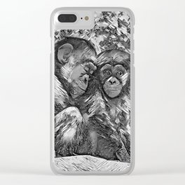 AnimalArtBW_Chimpanzee_20170601_by_JAMColorsSpecial Clear iPhone Case