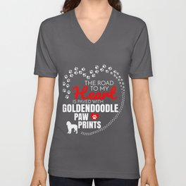 The Road To My Heart Is Paved With Goldendoodle Paw Prints Unisex V-Neck
