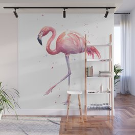 Flamingo Watercolor Pink Bird Wall Mural