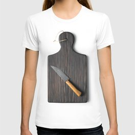 Cutting board with a knife on a white background T-shirt