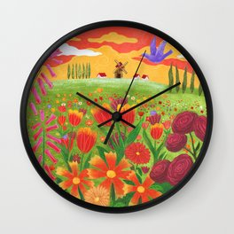 Flowers field Wall Clock