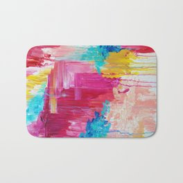 ELATED - Beautiful Bright Colorful Modern Abstract Painting Wild Rainbow Pastel Pink Color Bath Mat