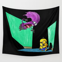 kevin russ Wall Tapestries featuring Miniocidal Purple Jungle Kevin by Plane Yogurt