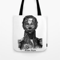 michael myers Tote Bags featuring Michael Myers by DIVIDUS