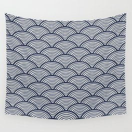 Japanese Waves Navy Wall Tapestry