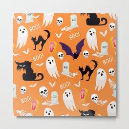 October Halloween halloween cat bat ghost skull orange Metal Print
