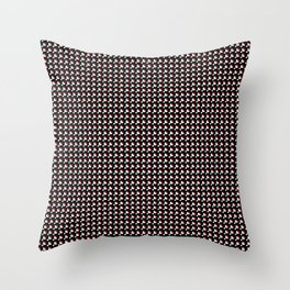 White and red on black pattern Throw Pillow