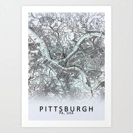 Pittsburgh PA USA White City Map Art Print
