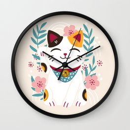 Japanese Lucky Cat with Cherry Blossoms Wall Clock