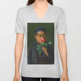 African American Masterpiece 'American Beauty' Portrait Painting Unisex V-Neck