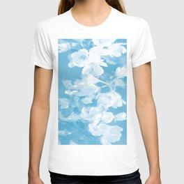 Spring Atmosphere White Flowers Sky Blue Background #decor #society6 #homedecor T-shirt