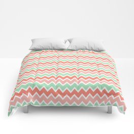 Coral Orange and Peach Pink and Mint Green Chevron Comforters