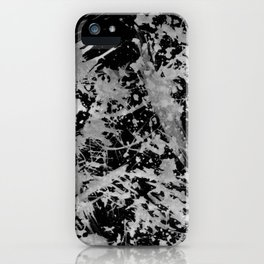 Black gray watercolor abstract brushstrokes paint iPhone Case