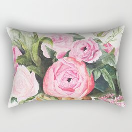Heather's Arrangement Watercolor Painting Rectangular Pillow