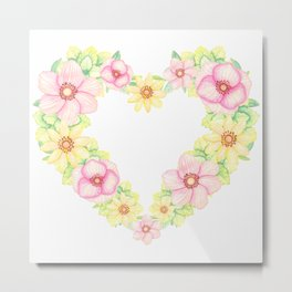 Spring Flowers Heart Wreath Metal Print