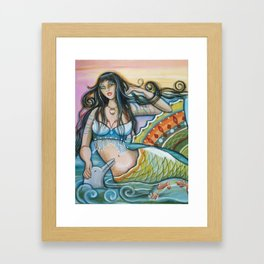 Mermaid and Dolphin Framed Art Print