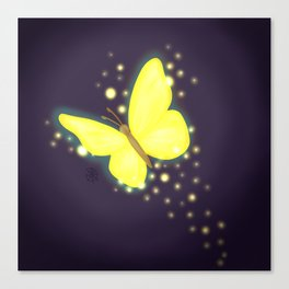 Glowing Yellow Butterfly Canvas Print