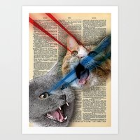 Laser Cats on dictionary background Art Print