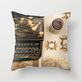 Little roses over an old typewriter and tea (Retro and Vintage Still Life Photography) Throw Pillow