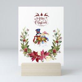 Watercolor Poinsettia Wreath Merry Christmas Typography Snowman Mini Art Print