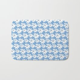 Daisies In The Summer Breeze - Blue Grey White Bath Mat