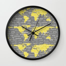 Hello World Languages Gray and Yellow Wall Clock