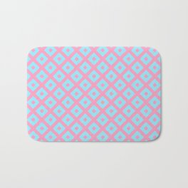 Geometric blush pink teal abstract argyle diamond pattern Bath Mat