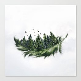 Earth Feather • Green Feather (horizontal) Canvas Print