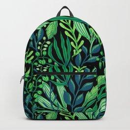 green leaves pattern, tropical leaves pattern, leaf pattern, light green pattern, flower pattern, vector floral pattern Backpack