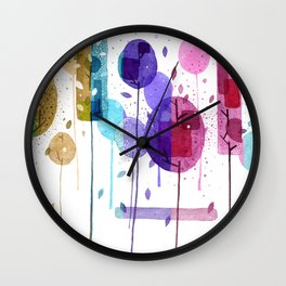 Colorful Geometric Forest Wall Clock