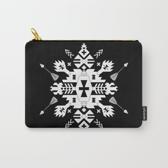 Black and White Ethnic Aztec Ornament Carry-All Pouch
