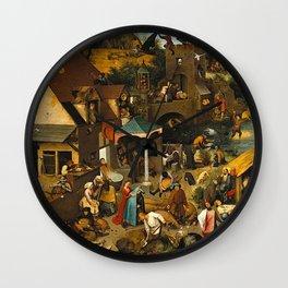 Pieter Bruegel the Elder Netherlandish Proverbs Painting Wall Clock