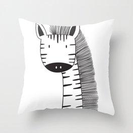 Cute giraffe sketch black and white Throw Pillow