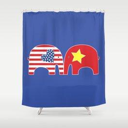 U.S.-Vietnam Friendship Elephants Shower Curtain